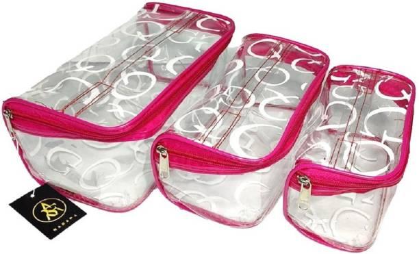 Rasafa Pack of 3 Printed Cosmetic Bag, Makeup Organizer, Makeup Kit, Storage Case, Transparent Vanity Box