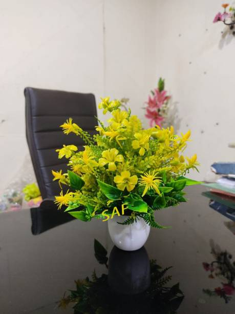 SAF Best Quality Of Flowers For Home/Office Table Decoration or Gift Table Flower Pot Bonsai Wild Artificial Plant with Pot (22 cm, Yellow) Wild Artificial Plant  with Pot