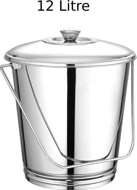 Swertia Stainless Steel Bucket with Lid for Kitchen Multipurpose Leak Proof Buckets Food Grade Storage Balti with bucket lid 12 L Steel Bucket