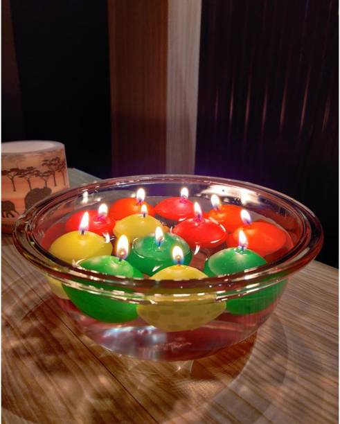 AuraDecor Nugget Pack of 12 Floating Candle ( Burning Time 5 Hours )(Multi) Candle