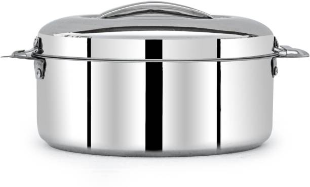 MANAU Stainless Steel Casserole with Steel Lid - 5000 ml, 1 Piece, Weight 1.600 Kgs Serve Casserole