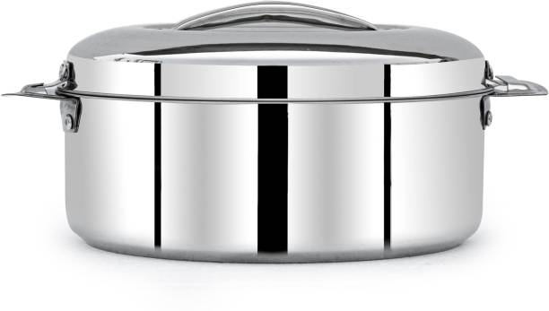 MANAU Hot Serve Double Wall Insulated Hot Pot Stainless Steel Casserole with Steel Lid (7500ML,Weight- 2 Kgs) Serve Casserole