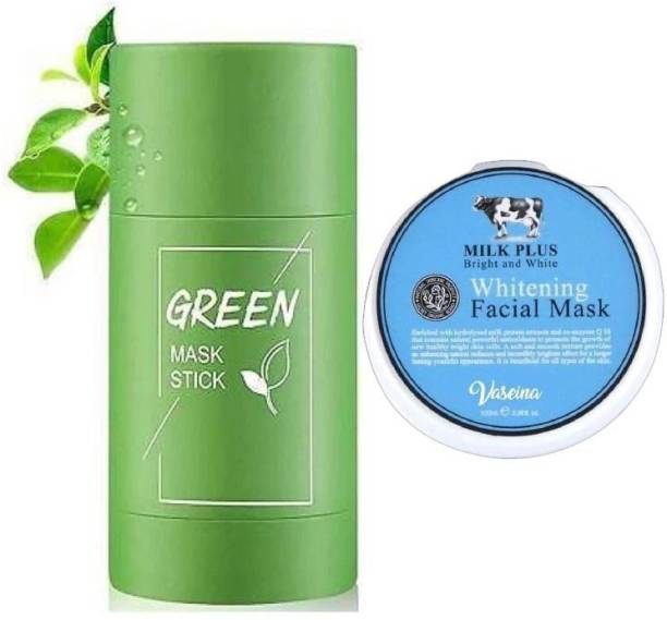 XBY Tea Purifying Clay Stick Mask Oil Control Anti-Acne Eggplant Solid Fine,Portable Cleansing Mask Mud Apply Mask,Green Tea Facial Detox Mud Mask (Green Tea) 40 g with MILK MASK