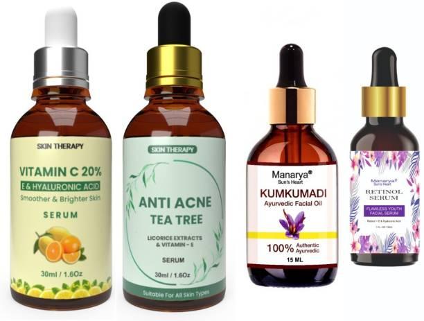 Manarya Sun's Heart Preimum Wedding Face Care Range Combo ( Kumkumadi Oil/Tailam/Thailam, Vitamin C Serum, Anti Acne Tea Tree Serum, Retinol Serum)