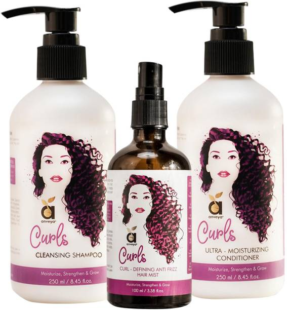 Anveya Curls Care Kit - Shampoo, Conditioner & Hair Mist: For Soft, Bouncy & Frizz-Free Curly Hair