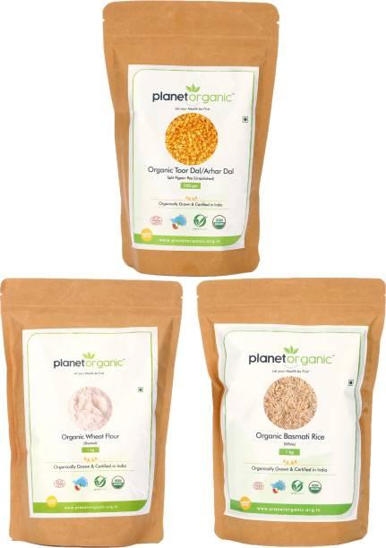 Planet Organic India Organic Combo of Toor Dal, Basmati Rice and Wheat Flour