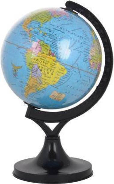 kunal enterprises Political 5 Inch Diameter Small Globe with Plastic Arc and Base with Lens Desk & Table Top Political World Globe (Medium Blue) DESK & TABLE TOP Political World Globe