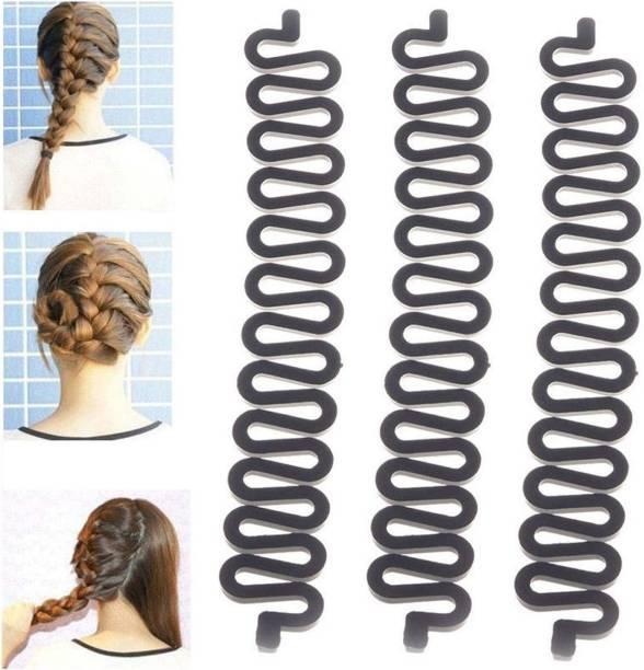 BELLA HARARO 3PCS Fashion French Hair Styling Clip Stick Bun Maker Braid Tool Hair Accessories Twist Hair Braiding Tool (Black) Hair Clip