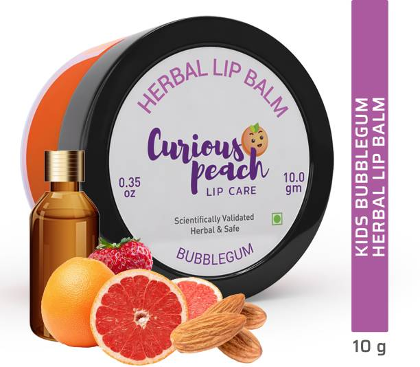 Curious Peach Ultra Protection Herbal Lip Balm - Bubble Gum 10GM | For Kids & Teens [Unisex] | Herbal, Ayurvedic, Safe & Scientifically Validated Bubble Gum