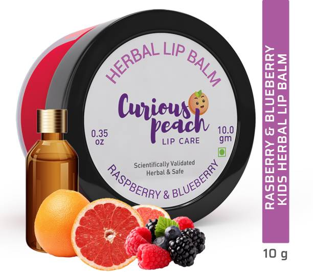 Curious Peach Ultra Protection Herbal Lip Balm - Raspberry + Blueberry 10GM | For Kids & Teens [Unisex] | Herbal, Ayurvedic, Safe & Scientifically Validated Raspberry & Blueberry