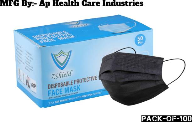 7SHIELD CE and ISO Certified Face Mask with Nose clip and soft ear loops 3PLY Water Resistant Surgical Mask Black 3 ply disposable filter protection breathable dust proof Water Resistant Surgical Mask Mfg By :-AP Health Care 100pcs Black 3 ply disposable filter protection breathable dust proof Water Resistant Surgical Mask