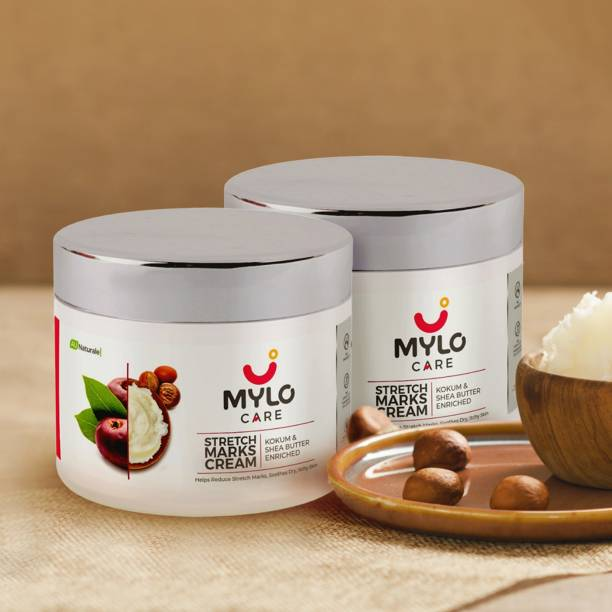 MYLO CARE Stretch Marks Cream for Pregnancy with the Goodness of Shea Butter, Saffron, Kokum Butter and Aloe Vera, Australia Certified Toxin Free, No Mineral Oils - 100ml + 100ml (Pack of 2)