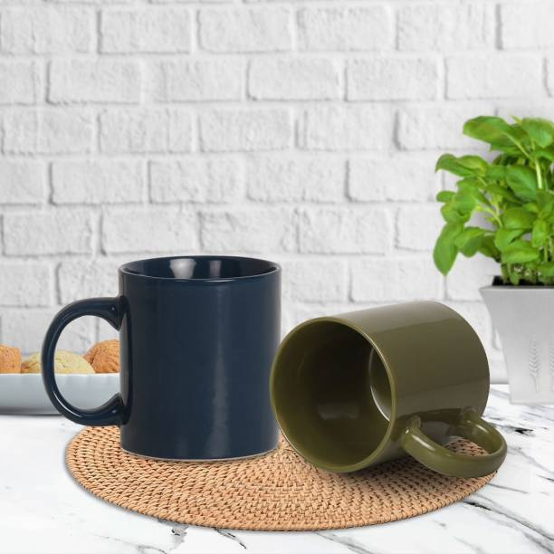 Flipkart SmartBuy Pack of 2 Ceramic Glossy Ceramic Beautiful Plain Tea & Coffee 300 ml Cup