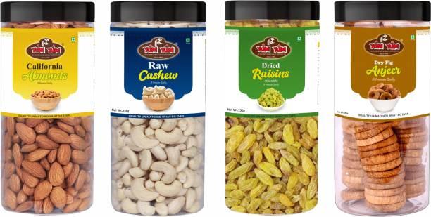 YUM YUM Premium Dry Fruits Combo Pack 1Kg- Almonds, Cashews, Raisins, Figs