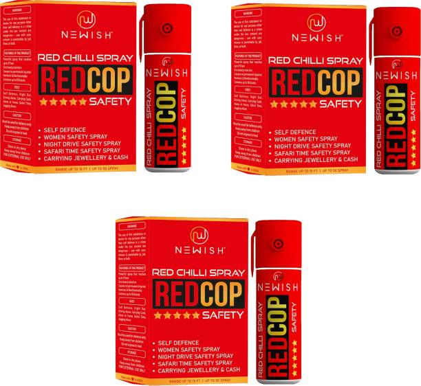 NEWISH : Powerful Red Chilli Pepper Spray Self Defence for Women Pack Of 3 Each (55 ml |35 gm|50 shots) Upto -15 Feet Pepper Stream Spray