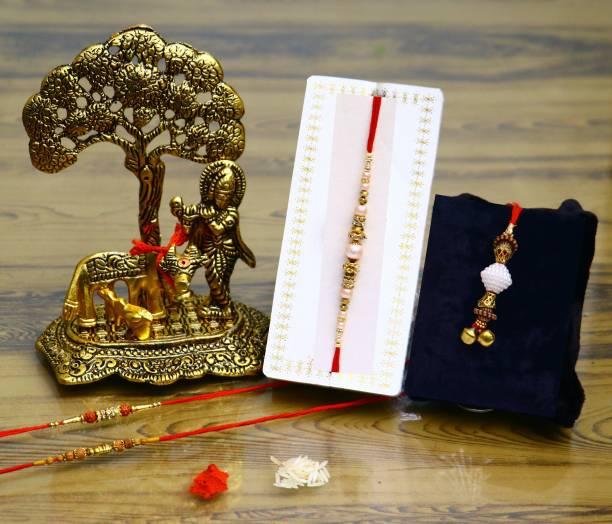 Chhariya Crafts Bhaiya Bhabhi Rakhi, Chawal Roli Pack  Set
