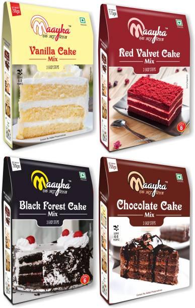 Maayka - Ek Atoot Rishta Red Velvet ,Vanilla , Chocolate & Black Forest Cake Mix (750gm) 750 g