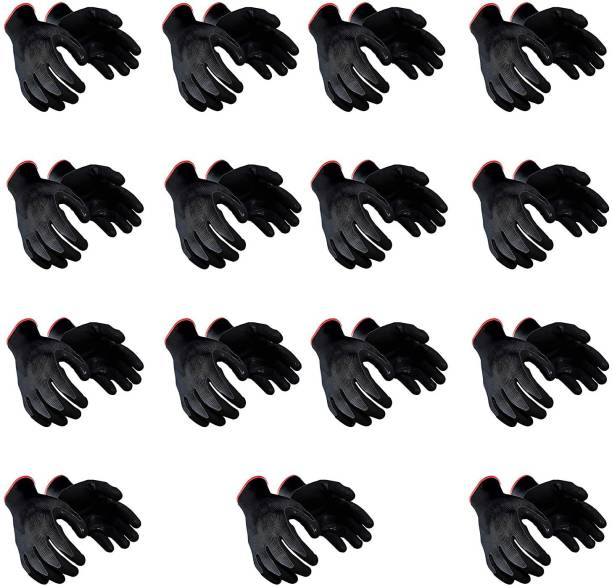 QTM 15 PAIR Nylon Nitrile Coated Anti Slip Grip Oil Resistant Industrial Working Hand Gloves Nitrile Safety Gloves. Multipurpose Cotton Daily Use Safety Hand Gloves Reusable Washable Grip Coating Anti Cut Resistant For Bike Riding Virus Protection Garden Gardening Heavy Duty Industrial Construction Work Nitrile  Safety Gloves
