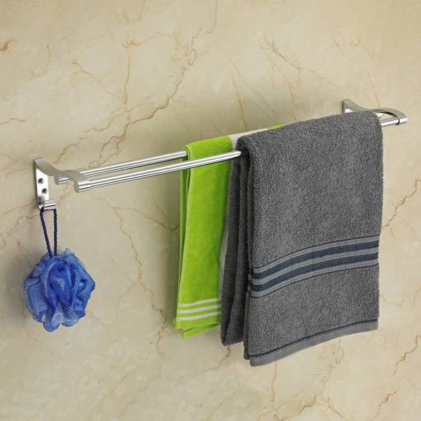 Welson by WELSON 20 INCH Stainless Steel Towel Rack Cum Towel Bar   Bathroom Towel Rod Holder   Wall Mounted Hand Towel Rail for Kitchen and Washroom   Towel Hanger   Towel Stand   Towel Holder Silver Towel Holder