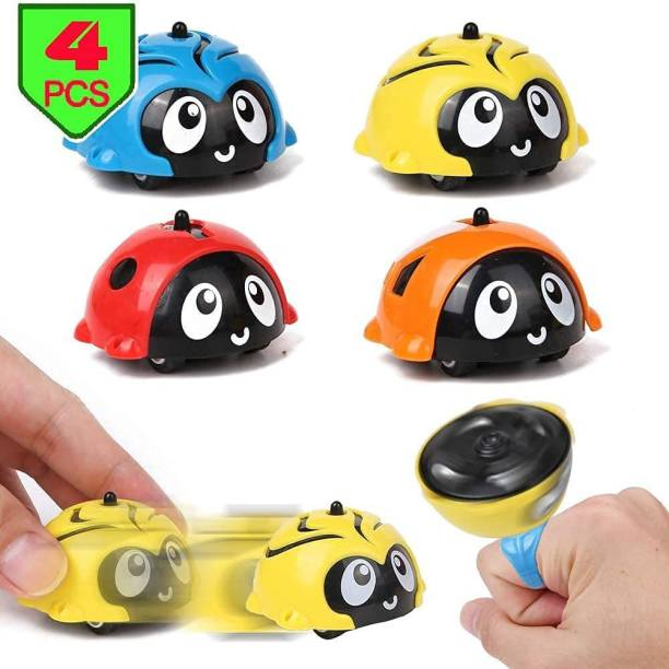 ARONET Kids Shop Battle Gyro Car - Works as Friction Powered Cars/Spinning Top/Gyro Battle Games. Multiple Playing Mode - Race, Spin, Stack, Perform Tricks. Set of 4 Pcs