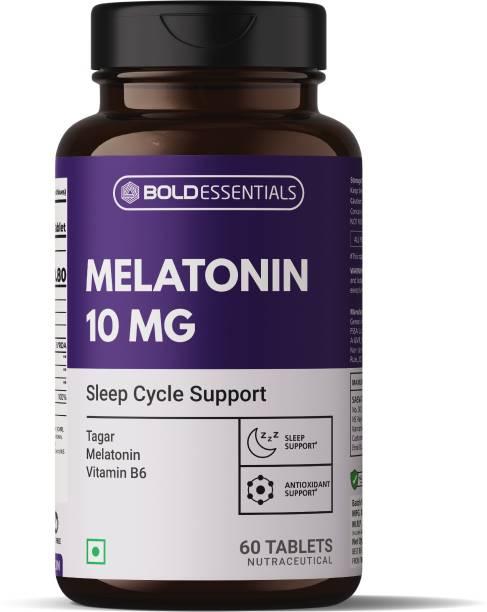BOLDESSENTIALS Melatonin 10mg With Tagar 250mg & Vitamin B6 2mg For Healthy Sleep Cycle
