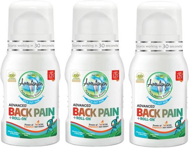 Amrutanjan ADVANCED BACK PAIN ROLL ON 50 ML (Each) PACK OF 3 Liquid