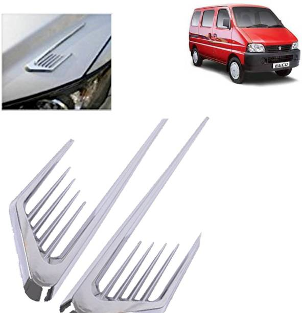 aksmit 3D Car Air Flow Vent Fender Side Door Decals Stickers V-621 Silver ForEeco_SD540 Side Scoop