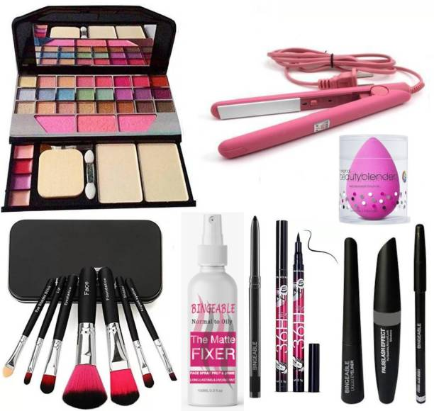 Bingeable BLACK Smudge Proof Kajal,3in1 Combo set,36h Eyeliner,Washable Makeup Sponge/Puff,Set of 7 BLACK/PINK Makeup Brushes,Long Lasting Makeup Fixer Spray All in One Best Makeup kit 6155 (Eyeshadow,Blusher,Compact,Lip Gloss) & Professional Hold/Styling Mini Hair Straightener