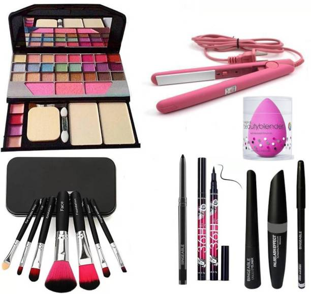 Bingeable BLACK Smudge Proof Kajal,3in1 Combo set,36h Eyeliner,Washable Makeup Sponge/Puff,Set of 7 BLACK/PINK Makeup Brushes,All in One Best Makeup kit 6155 (Eyeshadow,Blusher,Compact,Lip Gloss) & Professional Hold/Styling Mini Hair Straightener