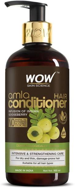 WOW SKIN SCIENCE Amla Hair Conditioner For Weak Hair - No Mineral Oil, Parabens, Silicones, Synthetic Color & PEG - 300 ml