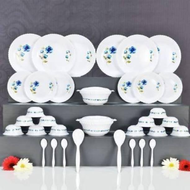 VTTRADE Pack of 36 PP (Polypropylene) Pack of 36 PP (Polypropylene) Microwave Safe Plastic Dinner Set for Kitchen-36 Pcs (Printed Round -)Dinner Set (Microwave Safe) Dinner Set