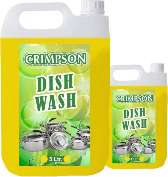 crimpson liquid dish wash gel lemon fragnance Dish Cleaning Gel (lemon, 5 L+ 1 L) Dishwash Bar