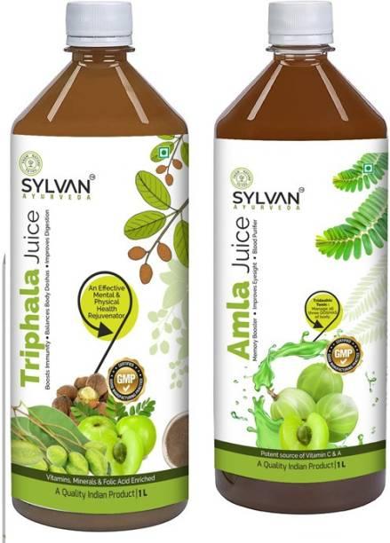 SYLVAN AYURVEDA SYLVAN| FRESH AMLA JUICE+TRIPHALA JUICE 2L|VALUE PACK OF 2