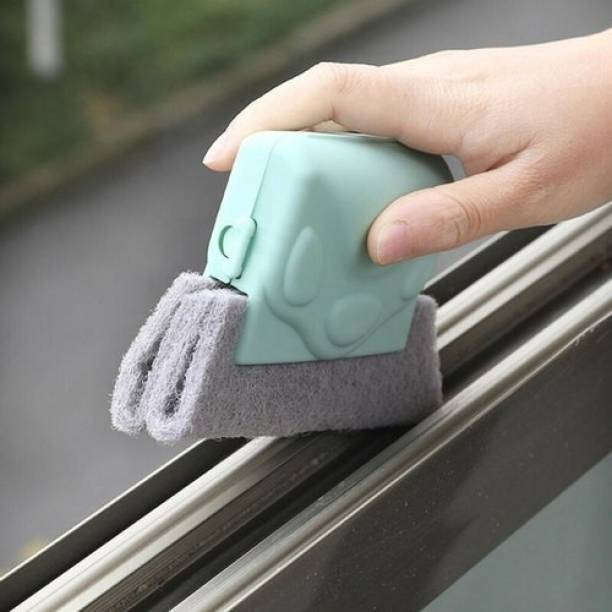 PRIMEFAIR Window Frame Groove Cleaning Brush, Sliding Door Track Cleaning Tools, Magic Hand-held Grip Crevice Cleaner Tools, Removable Scouring Pad Brush Design, Window Blind Cleaning Brush Cleaning Brush