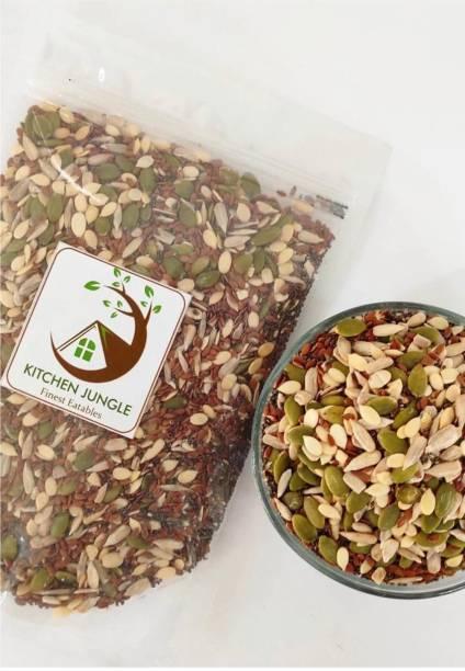 Kitchen Jungle 5-in-1 Raw Seeds Mix Raw Sunflower Seeds, Pumpkin Seeds, Flax Seeds,Chia Seeds, Watermelon Seeds