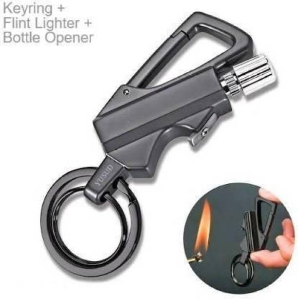 ZVR Keychain + Waterproof Flint lighter| Fire Starter Match Sticks +Bottle Opener Grey Flintsteel & Magnesium Fire Starter Striker Included