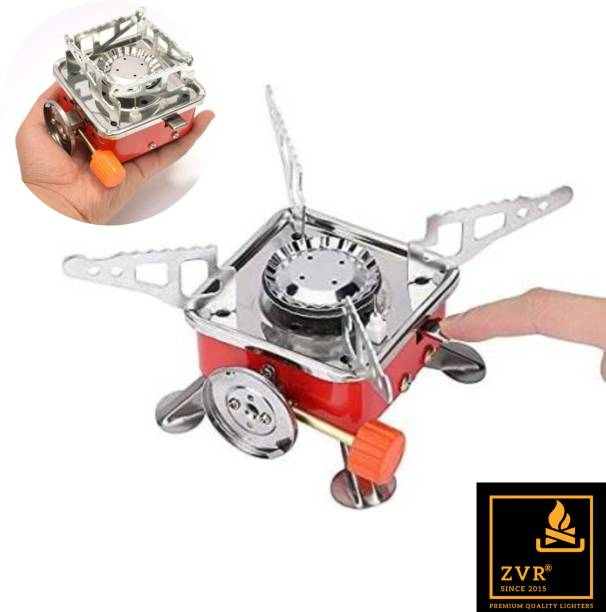 ZVR Portable Windproof Mini Folding Camping Stove with Carrying Pouch | Automatic Lighting Outdoor Camping Picnic Butane Gas Stove Bagpacking Foldable Gas Burner Cooking Tool Furnace Stainless Steel (Adjustable Flame) Aluminium Automatic Gas Stove