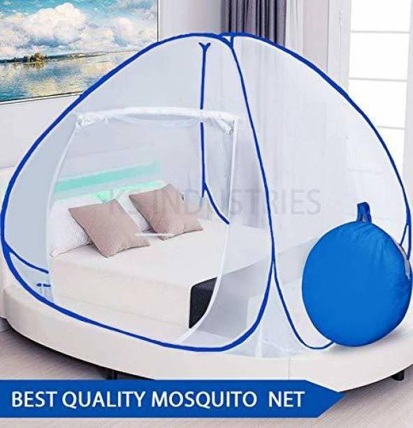 Rihishtoys Polyester Adults Polyester Adults Blue Mosquito Net Polyester Adults Net King Size Double bed Mosquito Net Mosquito Net (Blue, White) Mosquito Net