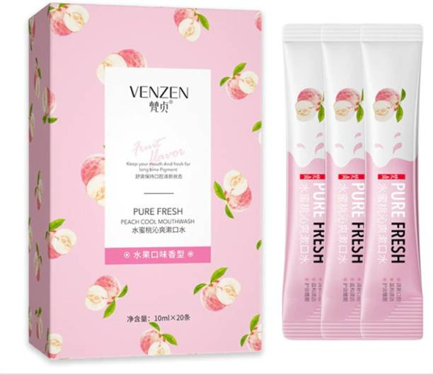 Venzen Refreshing Mouthwash Sachet with Peach Cool Mouthwash 20 Strips Pack - Peach