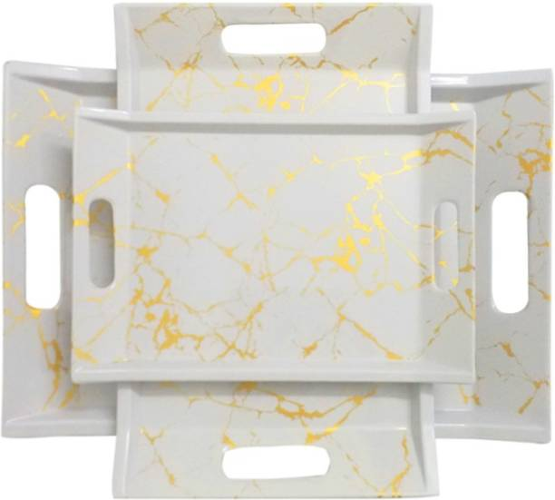 UPC U.P.C. Melamine Multicolor Serving Tray, Set of 3 (Small, Medium and Large Size) Golden Series Tray Tray