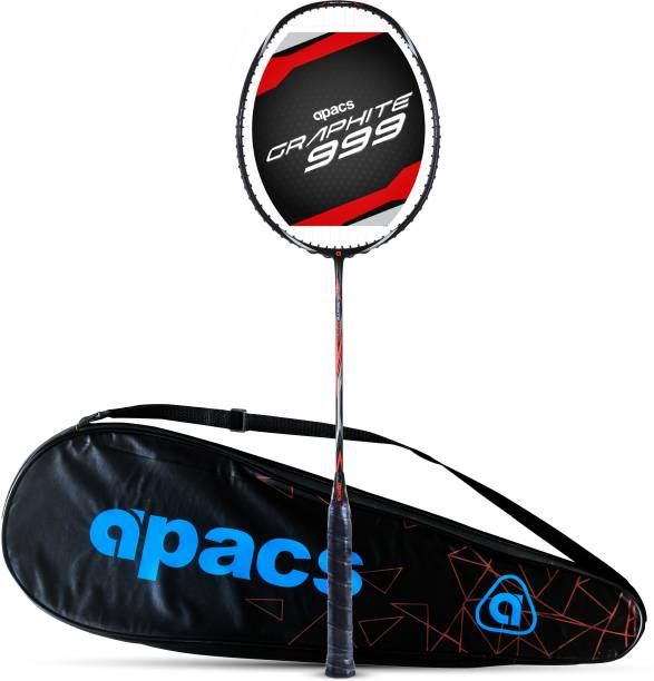 apacs Graphite 999 (Full Graphite, 30 LBS) Black, Orange Strung Badminton Racquet