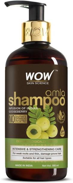 WOW SKIN SCIENCE Amla Shampoo For Weak Hair - No Sulphate, Parabens, Silicones, Synthetic Color & PEG - 300 ml