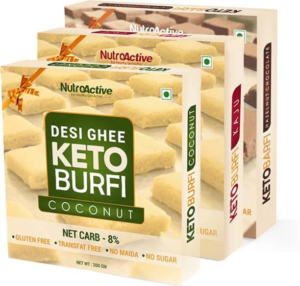 NutroActive Desi Ghee Keto Barfi Combo (Kaju, Coconut & Chocolate Hazelnut) 200 gm Each (Pack of 3) Box