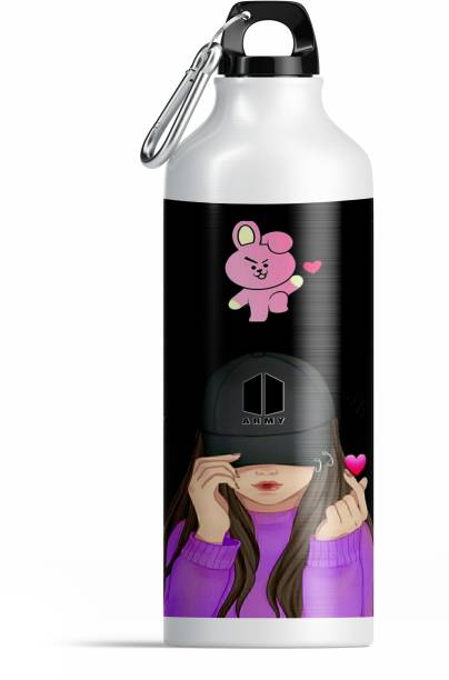 CHHAAP BTS Bangtan Boys Vogue Printed Aluminium Sports Sipper Music Band V Suga J-Hope Jungkook Jin Jimin Rm BTS Signature Army Best Gift for BTS Lovers Water Bottle Pack of 1 (BTS SIP09) 600 ml Water Bottle