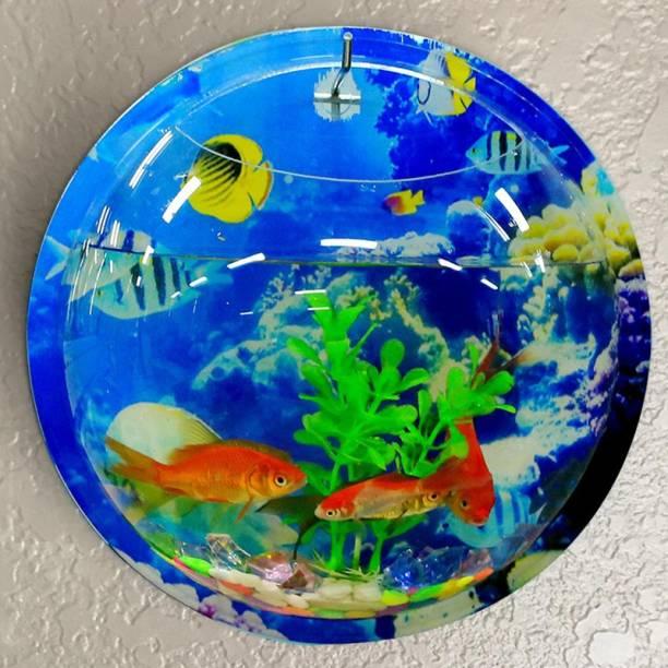 Emily Pets Wall Mounted Hanging Fish Tank Decor, driew Clear Acrylic Bubble Hanging Fish Tank Bowl Round Vase Flower Plant Pot Betta Aquarium (Medium) Round Ends Aquarium Tank