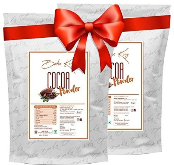 Bake King Pack of 2 Natural Cocoa Powder for Making Cookies, Chocolate Bread, Shake, Brownies, Chocolate Desserts Cocoa Powder