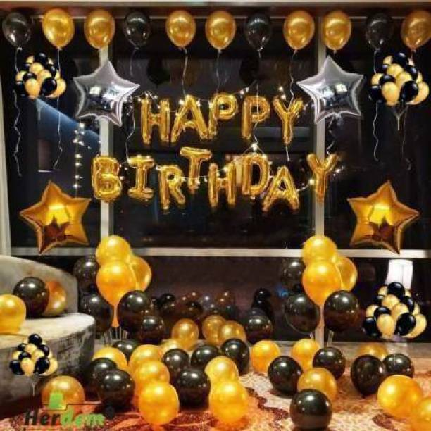 HERDEM Printed HAPPY BIRTHDAY GOLDEN LETTER 13 PIECE.50 BLACK AND GOLDEN BALLOONS 2 STAR 10 INCHES TOTAL PACK OF 65. Letter Balloon