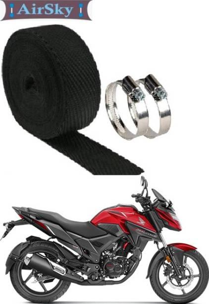 AIRSKY 1 Pcs Silencer Wrap 2 Pcs Clamp (3 Mtrs) (Black Pack of 1) Bike Exhaust Heat Shield Bike Exhaust Heat Shield