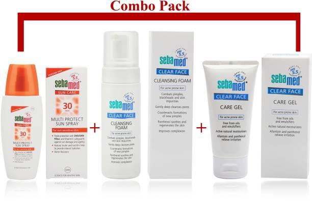 Sebamed Clear Face Cleansing Foam (150 ml) + Clear Face Care Gel (50ml) + Multiprotect Sun Lotion Spray SPF30 (150ml)