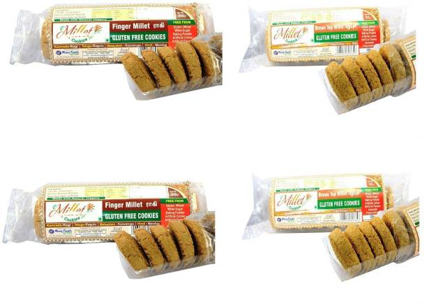 e-Millet Gluten Free Finger Millet and Browntop millet cookies pack of 90g x 4 nos Cookies